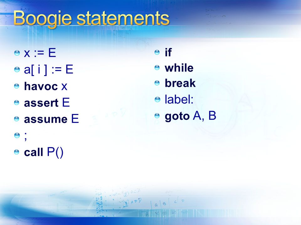 x := E a[ i ] := E havoc x assert E assume E ; call P() if while break label: goto A, B