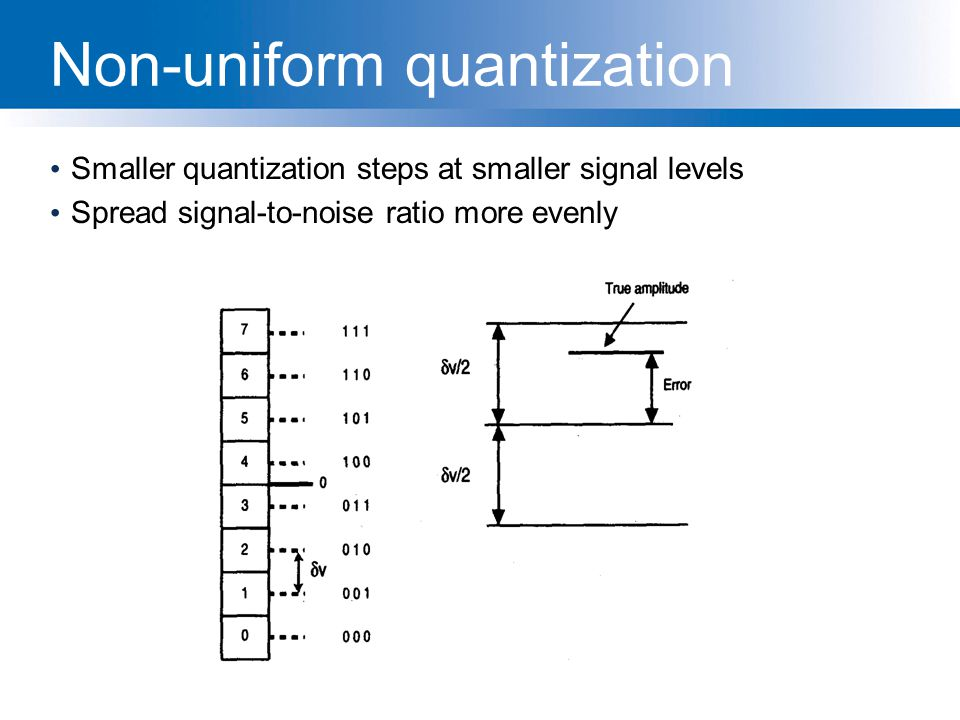 Non-uniform quantization Smaller quantization steps at smaller signal levels Spread signal-to-noise ratio more evenly