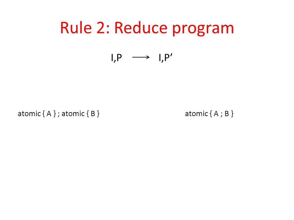 Rule 2: Reduce program atomic { A ; B }atomic { A } ; atomic { B } I,PI,P'
