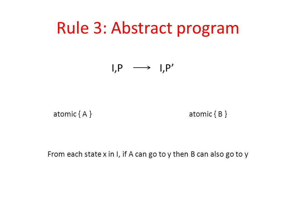 Rule 3: Abstract program atomic { A }atomic { B } I,PI,P' From each state x in I, if A can go to y then B can also go to y