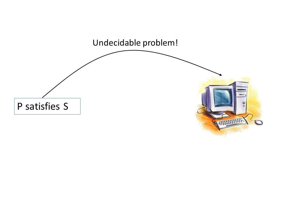 P satisfies S Undecidable problem!