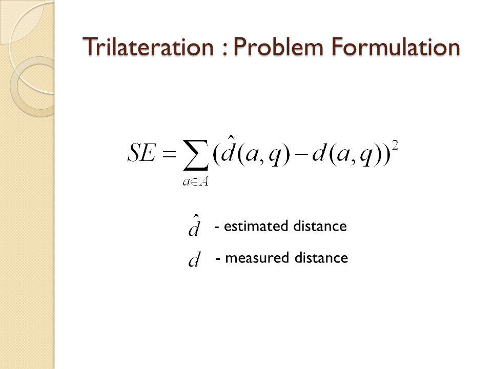 Trilateration : Problem Formulation - estimated distance - measured distance