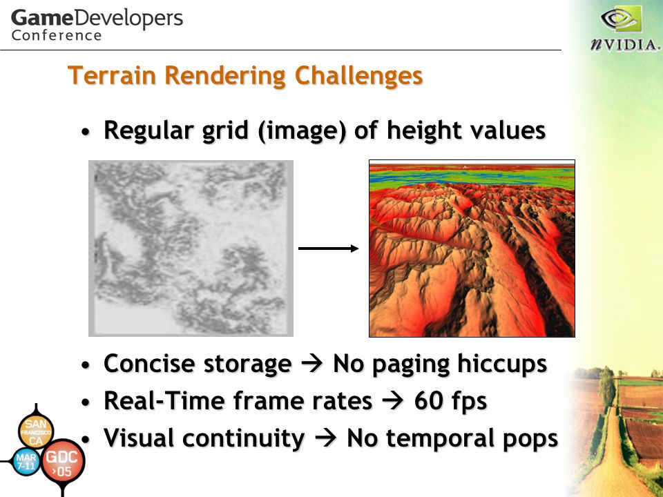 Terrain Rendering Challenges Regular grid (image) of height valuesRegular grid (image) of height values Concise storage  No paging hiccupsConcise sto