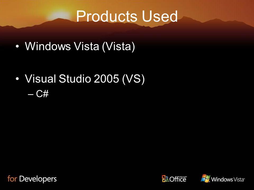 Products Used Windows Vista (Vista) Visual Studio 2005 (VS) –C#