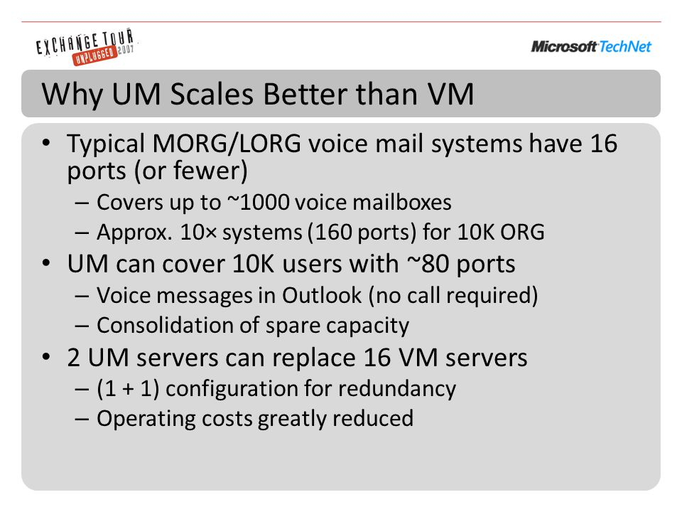 Why UM Scales Better than VM Typical MORG/LORG voice mail systems have 16 ports (or fewer) – Covers up to ~1000 voice mailboxes – Approx.