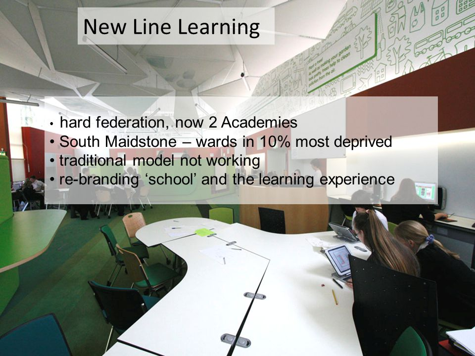 hard federation, now 2 Academies South Maidstone – wards in 10% most deprived traditional model not working re-branding 'school' and the learning experience New Line Learning
