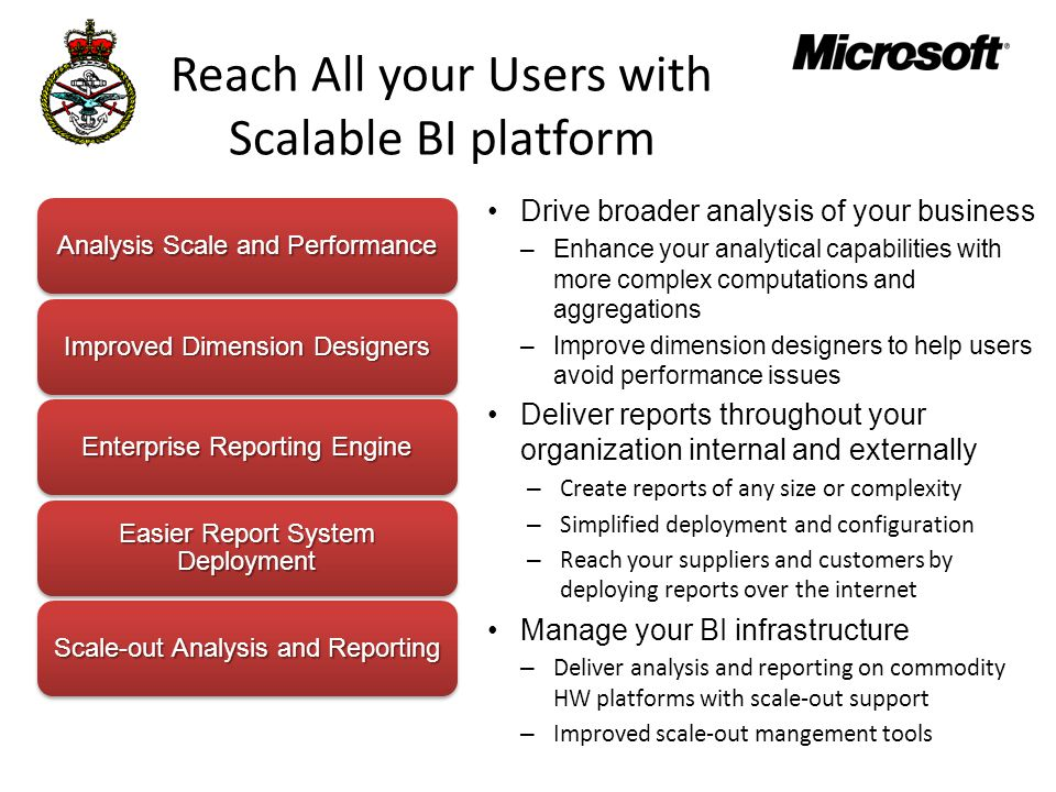 Reach All your Users with Scalable BI platform Drive broader analysis of your business –Enhance your analytical capabilities with more complex computations and aggregations –Improve dimension designers to help users avoid performance issues Deliver reports throughout your organization internal and externally – Create reports of any size or complexity – Simplified deployment and configuration – Reach your suppliers and customers by deploying reports over the internet Manage your BI infrastructure – Deliver analysis and reporting on commodity HW platforms with scale-out support – Improved scale-out mangement tools Analysis Scale and Performance Improved Dimension Designers Enterprise Reporting Engine Easier Report System Deployment Scale-out Analysis and Reporting