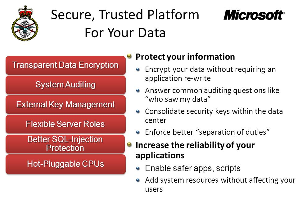 Secure, Trusted Platform For Your Data Transparent Data Encryption System Auditing External Key Management Flexible Server Roles Better SQL-Injection Protection Hot-Pluggable CPUs Protect your information Encrypt your data without requiring an application re-write Answer common auditing questions like who saw my data Consolidate security keys within the data center Enforce better separation of duties Increase the reliability of your applications Enable safer apps, scripts Add system resources without affecting your users