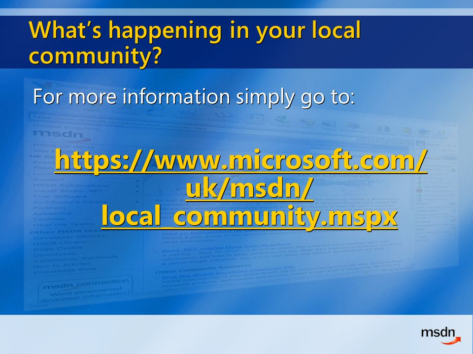 What's happening in your local community.