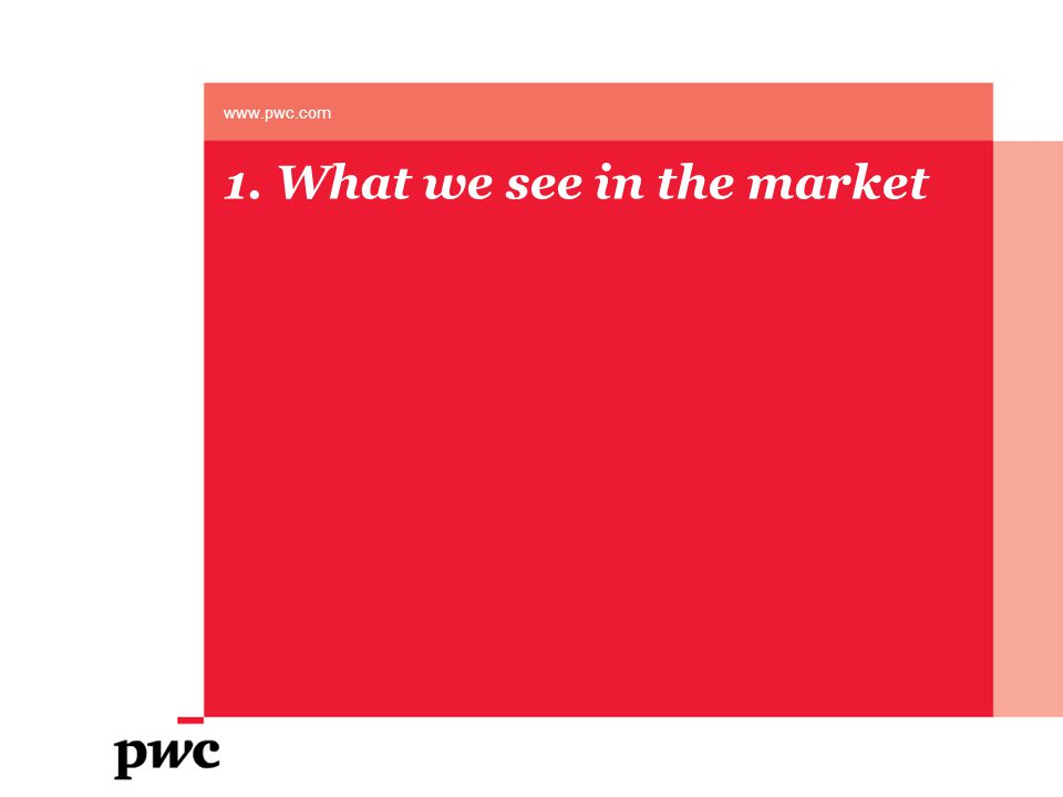 1. What we see in the market www.pwc.com
