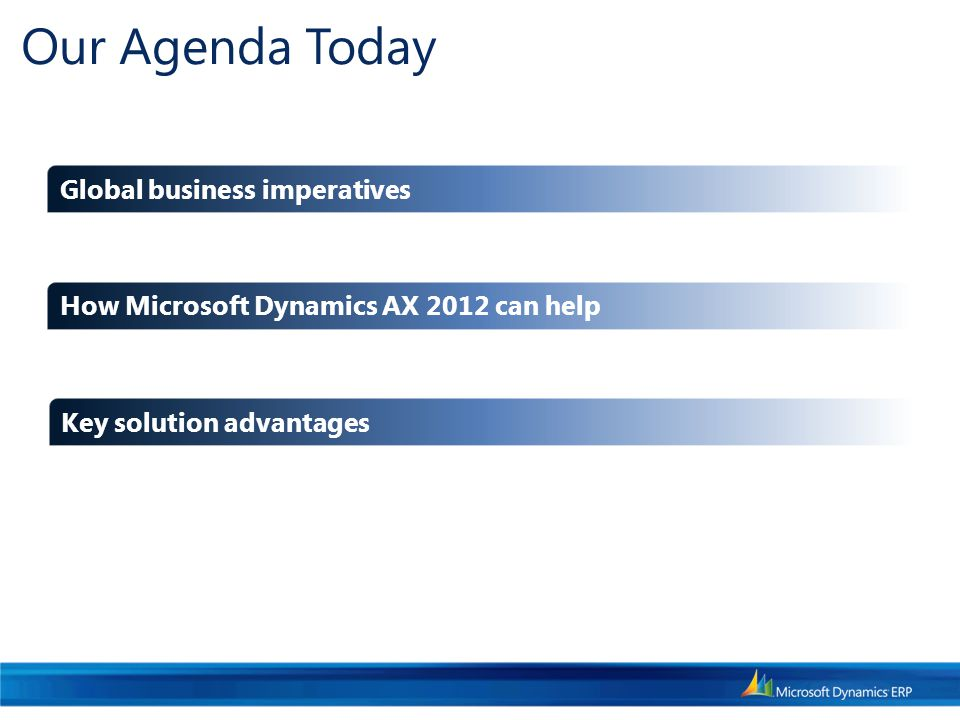 Our Agenda Today How Microsoft Dynamics AX 2012 can help Key solution advantages Global business imperatives