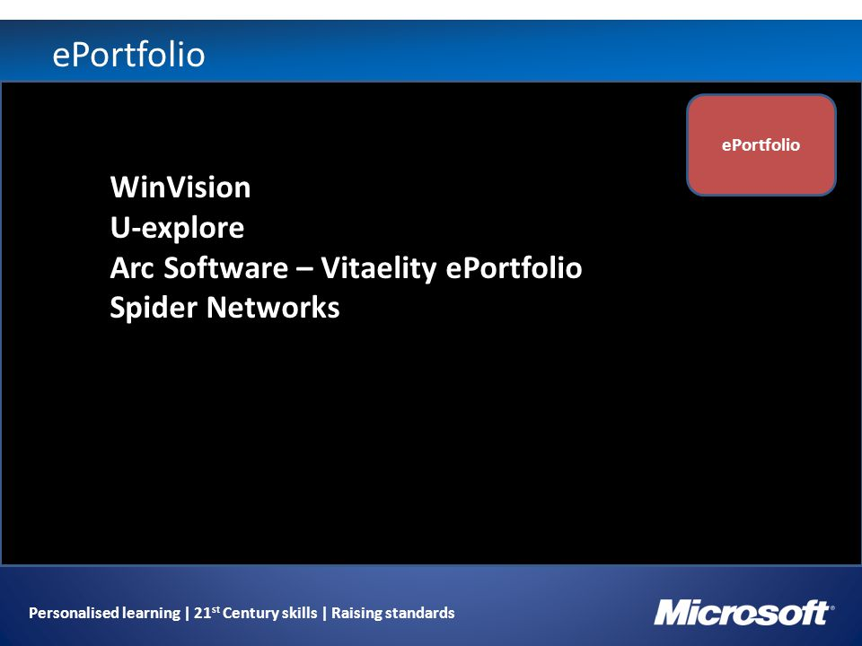 Personalised learning | 21 st Century skills | Raising standards ePortfolio WinVision U-explore Arc Software – Vitaelity ePortfolio Spider Networks