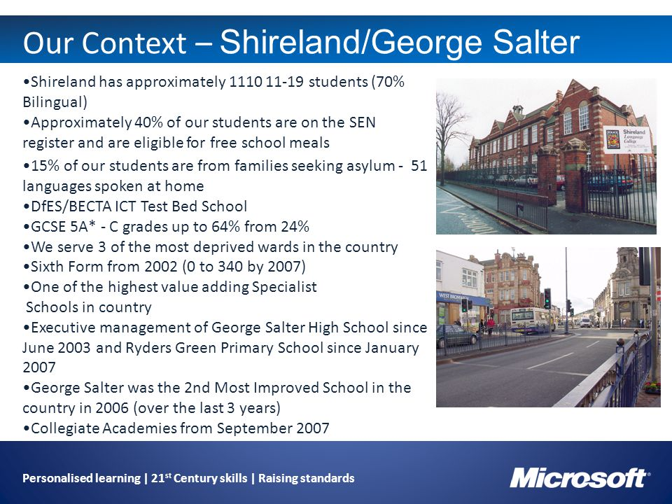Personalised learning | 21 st Century skills | Raising standards Our Context – Shireland/George Salter Shireland has approximately 1110 11-19 students