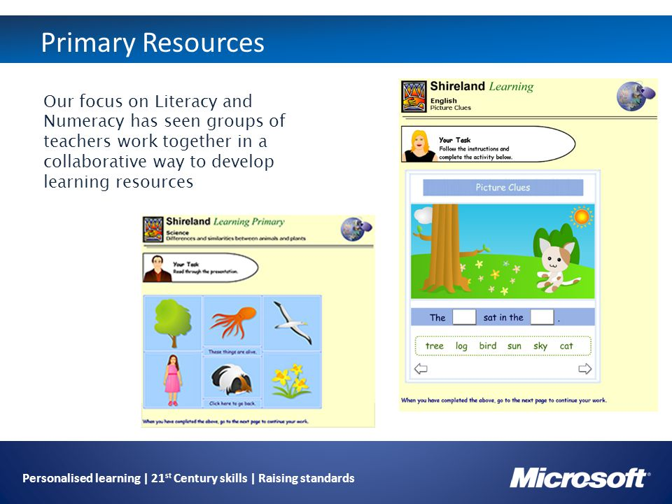 Personalised learning | 21 st Century skills | Raising standards Primary Resources Our focus on Literacy and Numeracy has seen groups of teachers work