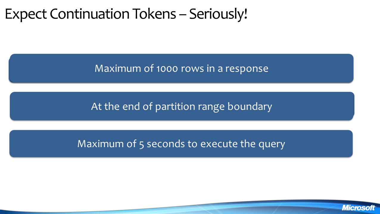 Expect Continuation Tokens – Seriously.