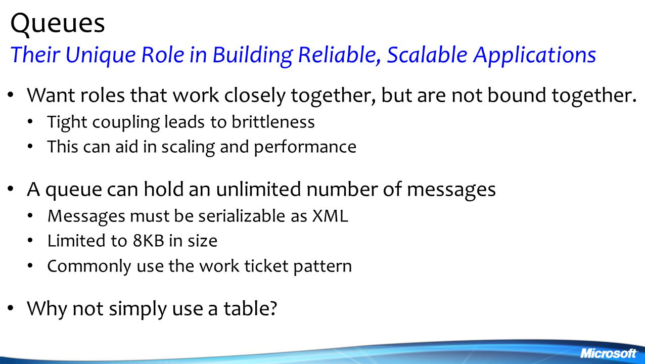 Queues Their Unique Role in Building Reliable, Scalable Applications Want roles that work closely together, but are not bound together.