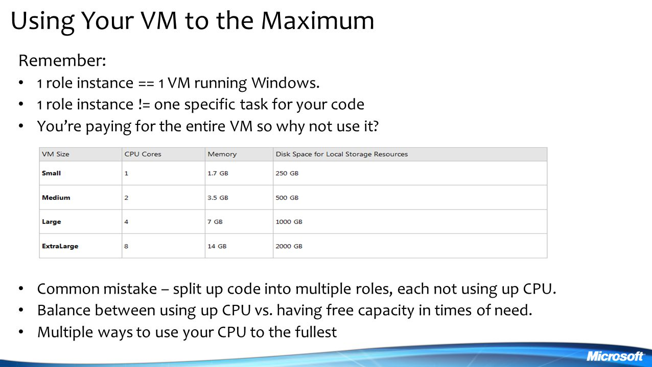 Using Your VM to the Maximum Remember: 1 role instance == 1 VM running Windows.