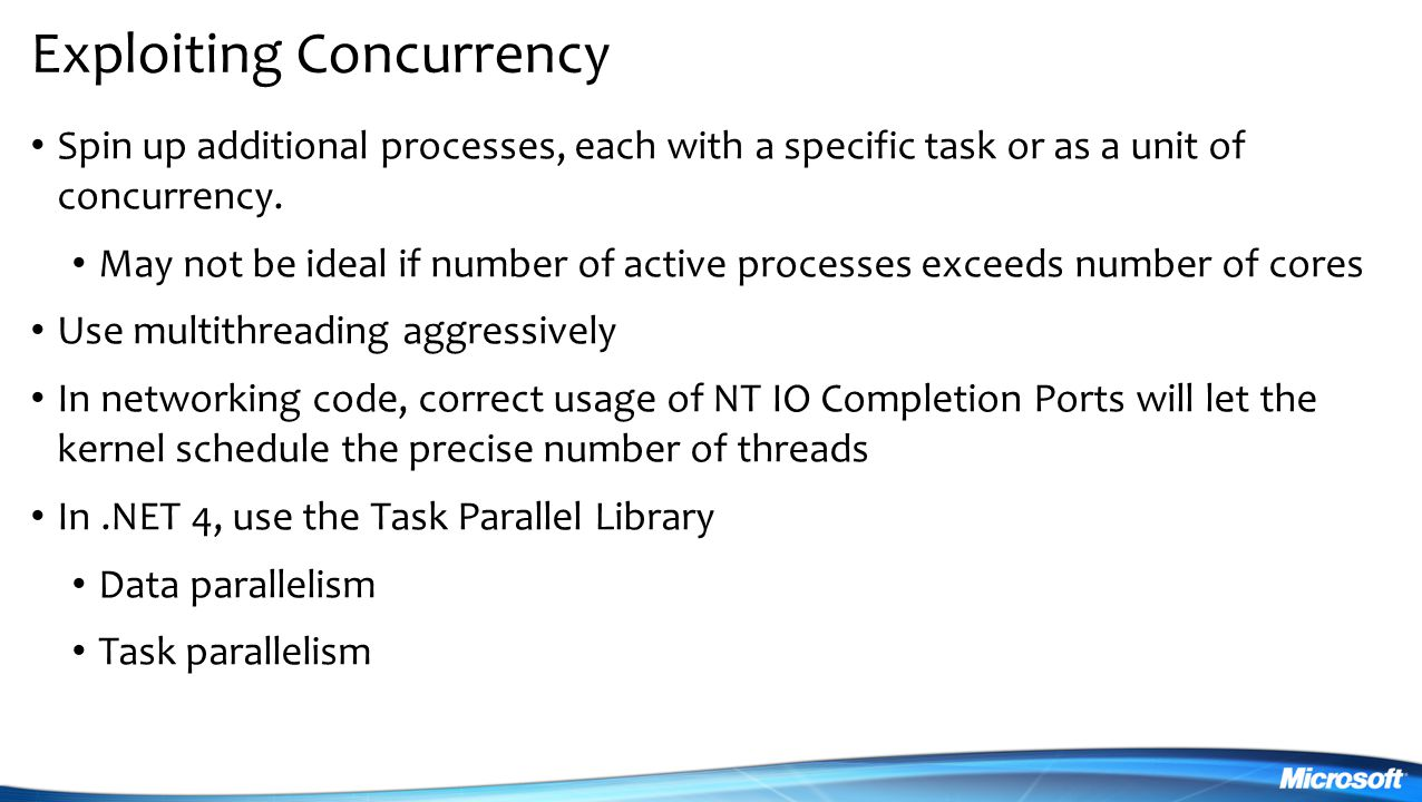 Exploiting Concurrency Spin up additional processes, each with a specific task or as a unit of concurrency.