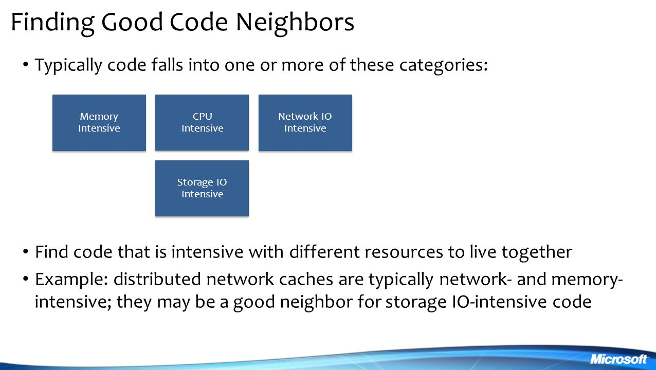 Finding Good Code Neighbors Typically code falls into one or more of these categories: Find code that is intensive with different resources to live together Example: distributed network caches are typically network- and memory- intensive; they may be a good neighbor for storage IO-intensive code Memory Intensive CPU Intensive Network IO Intensive Storage IO Intensive