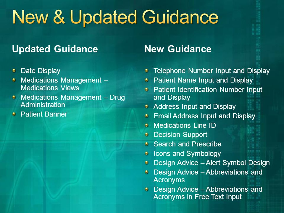Updated Guidance Date Display Medications Management – Medications Views Medications Management – Drug Administration Patient Banner New Guidance Telephone Number Input and Display Patient Name Input and Display Patient Identification Number Input and Display Address Input and Display Email Address Input and Display Medications Line ID Decision Support Search and Prescribe Icons and Symbology Design Advice – Alert Symbol Design Design Advice – Abbreviations and Acronyms Design Advice – Abbreviations and Acronyms in Free Text Input