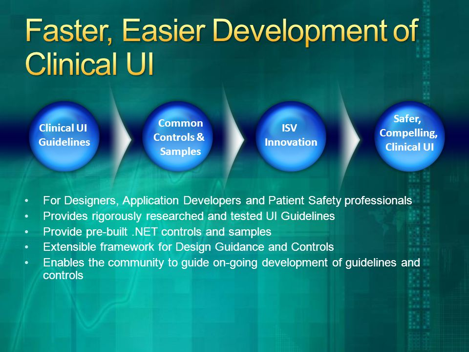 For Designers, Application Developers and Patient Safety professionals Provides rigorously researched and tested UI Guidelines Provide pre-built.NET controls and samples Extensible framework for Design Guidance and Controls Enables the community to guide on-going development of guidelines and controls Clinical UI Guidelines Common Controls & Samples ISV Innovation Safer, Compelling, Clinical UI