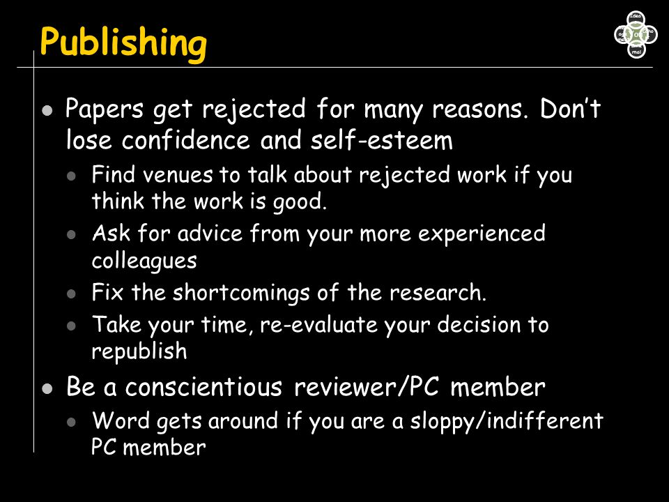 Publishing Papers get rejected for many reasons. Don't lose confidence and self-esteem Find venues to talk about rejected work if you think the work i