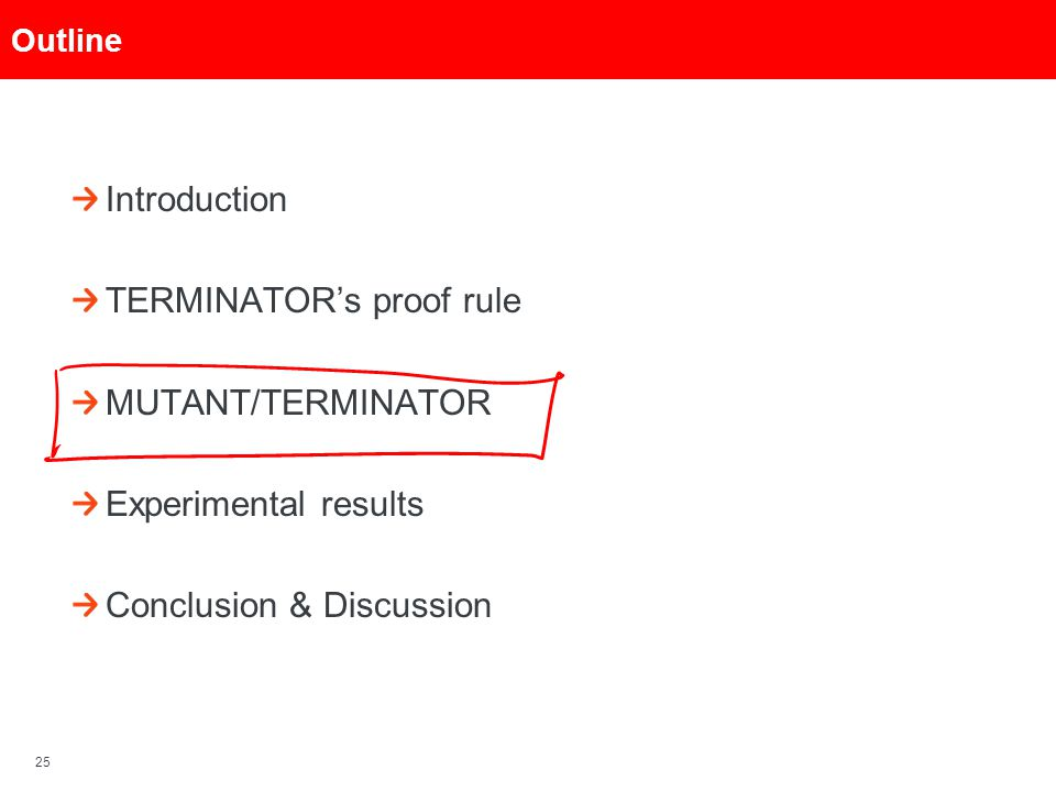 25 Outline Introduction TERMINATOR's proof rule MUTANT/TERMINATOR Experimental results Conclusion & Discussion