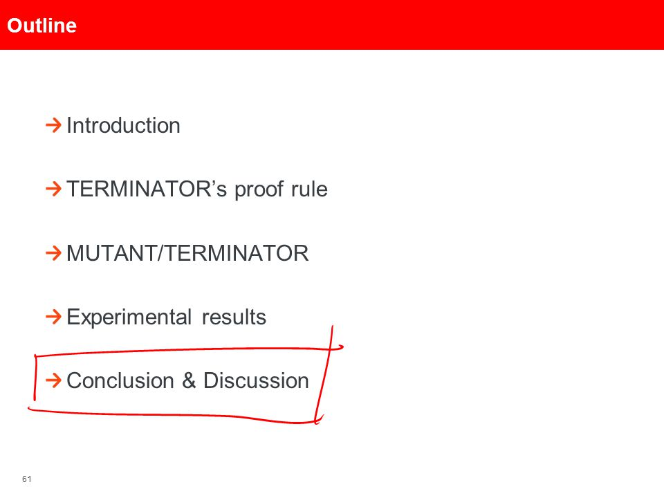 61 Outline Introduction TERMINATOR's proof rule MUTANT/TERMINATOR Experimental results Conclusion & Discussion