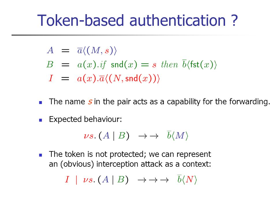 Token-based authentication . The name s in the pair acts as a capability for the forwarding.