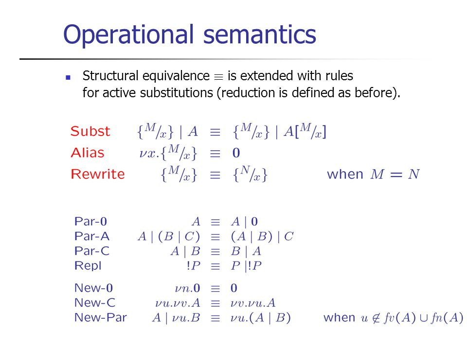 Operational semantics Structural equivalence ´ is extended with rules for active substitutions (reduction is defined as before).