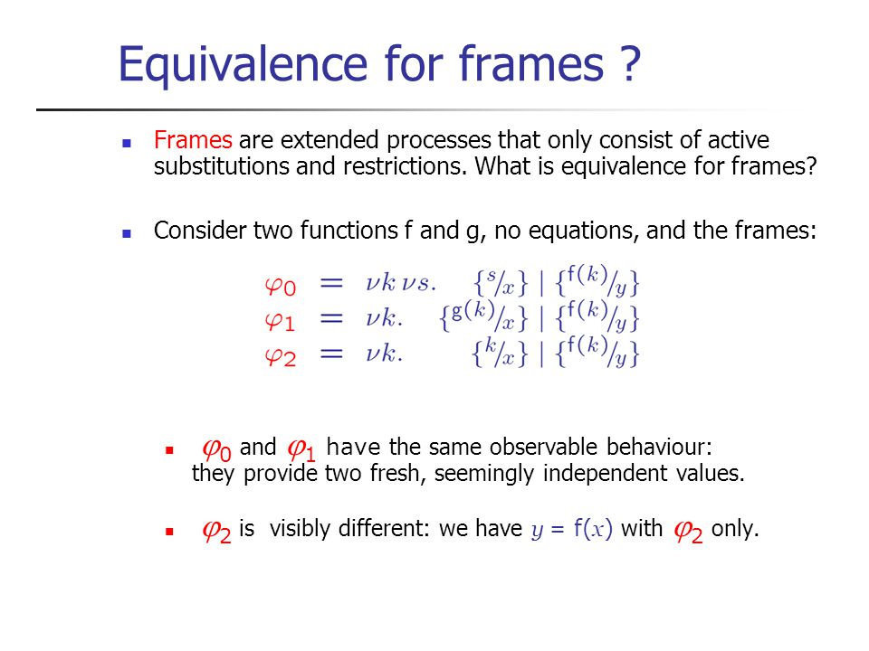 Equivalence for frames .