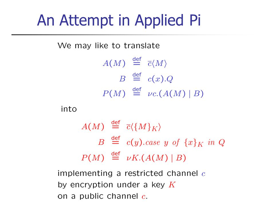 An Attempt in Applied Pi