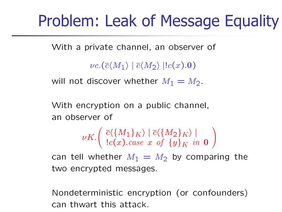 Problem: Leak of Message Equality