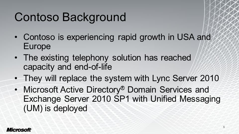 Contoso Background Contoso is experiencing rapid growth in USA and Europe The existing telephony solution has reached capacity and end-of-life They will replace the system with Lync Server 2010 Microsoft Active Directory ® Domain Services and Exchange Server 2010 SP1 with Unified Messaging (UM) is deployed 5