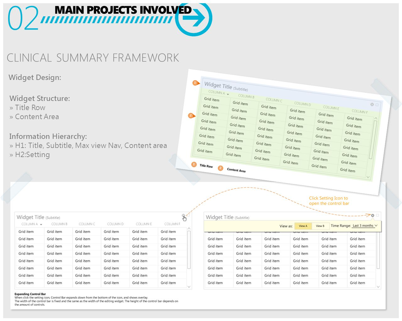 MAIN PROJECTS INVOLVED 02 CLINICAL SUMMARY FRAMEWORK Widget Structure: » Title Row » Content Area Information Hierarchy: » H1: Title, Subtitle, Max view Nav, Content area » H2:Setting Widget Design: