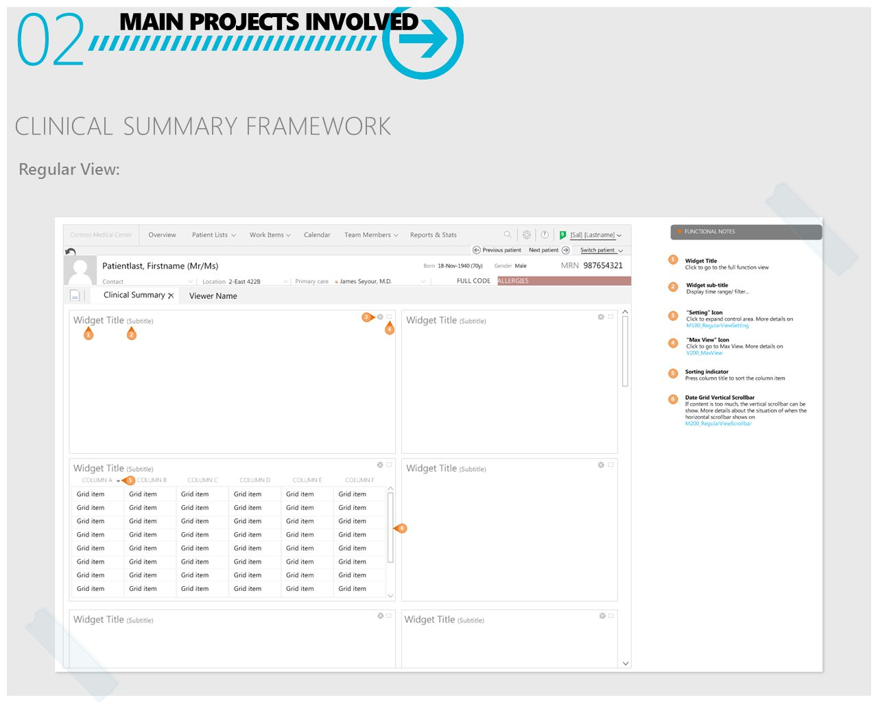 MAIN PROJECTS INVOLVED 02 CLINICAL SUMMARY FRAMEWORK Regular View: