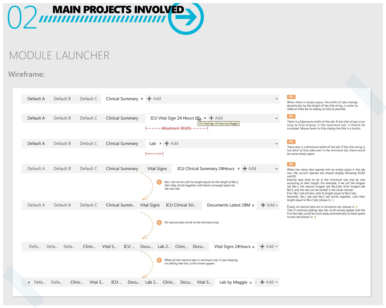 MAIN PROJECTS INVOLVED 02 MODULE LAUNCHER Wireframe: