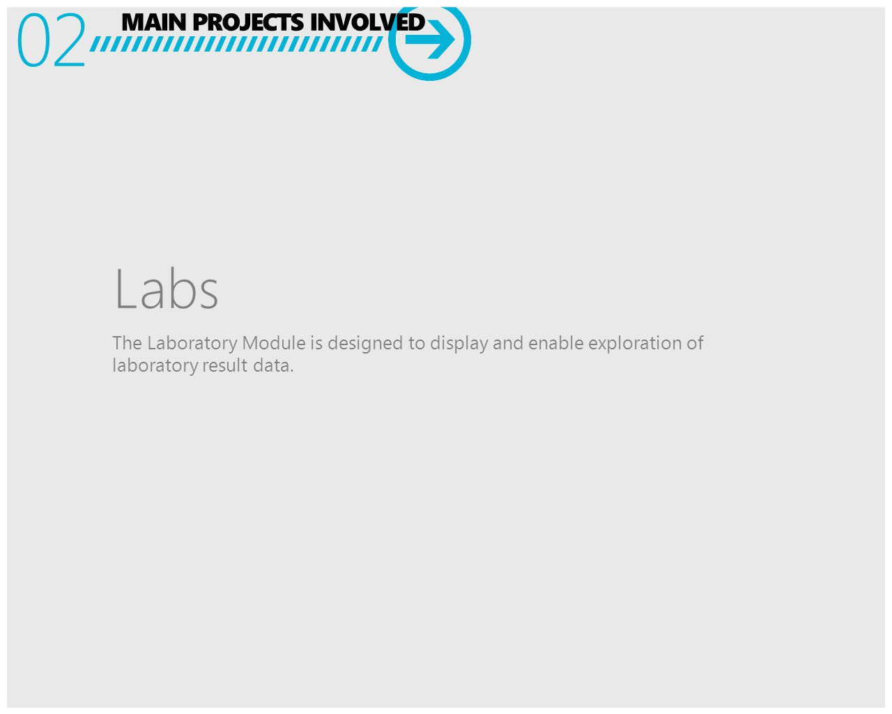 MAIN PROJECTS INVOLVED 02 Labs The Laboratory Module is designed to display and enable exploration of laboratory result data.