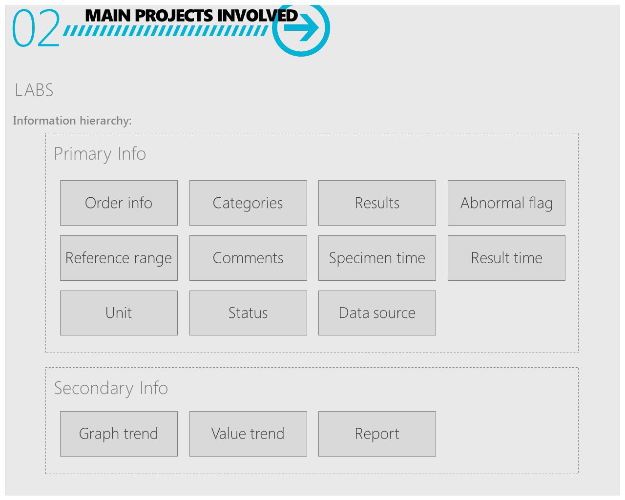 MAIN PROJECTS INVOLVED 02 LABS Information hierarchy: Order infoCategoriesResultsAbnormal flag Reference rangeCommentsSpecimen timeResult time UnitStatusData source Graph trendValue trendReport Primary Info Secondary Info