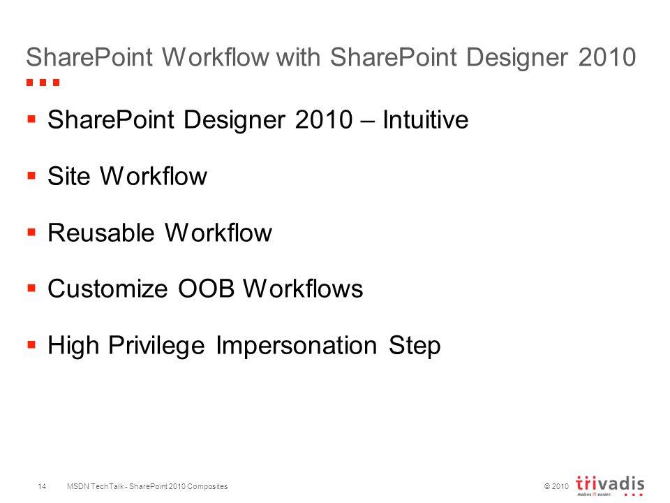 © 2010 SharePoint Workflow with SharePoint Designer 2010  SharePoint Designer 2010 – Intuitive  Site Workflow  Reusable Workflow  Customize OOB Workflows  High Privilege Impersonation Step MSDN TechTalk - SharePoint 2010 Composites14