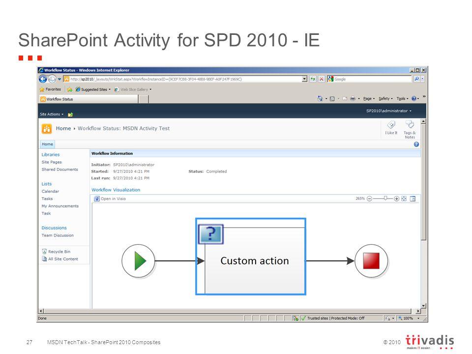 © 2010 SharePoint Activity for SPD 2010 - IE MSDN TechTalk - SharePoint 2010 Composites27