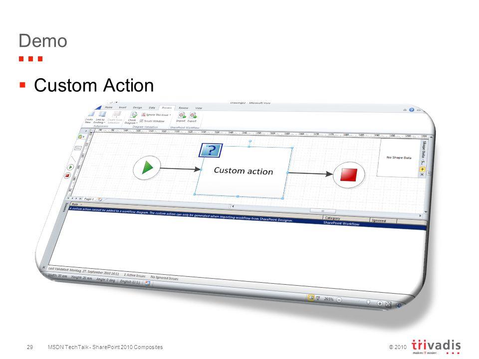 © 2010 Demo MSDN TechTalk - SharePoint 2010 Composites  Custom Action 29