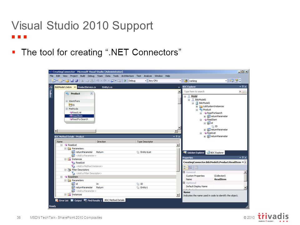 © 2010 Visual Studio 2010 Support  The tool for creating .NET Connectors MSDN TechTalk - SharePoint 2010 Composites36