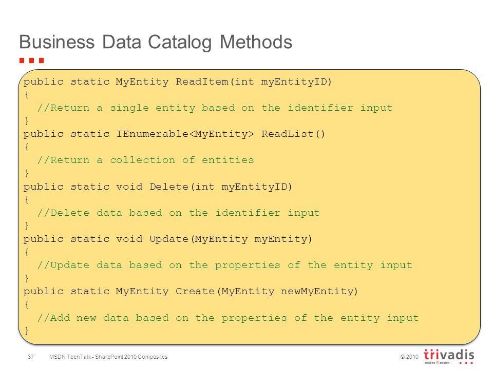 © 2010 Business Data Catalog Methods MSDN TechTalk - SharePoint 2010 Composites37