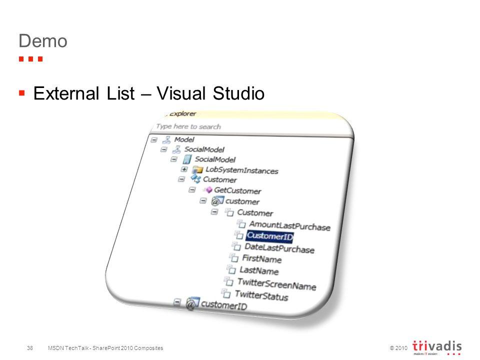 © 2010 MSDN TechTalk - SharePoint 2010 Composites38 Demo  External List – Visual Studio