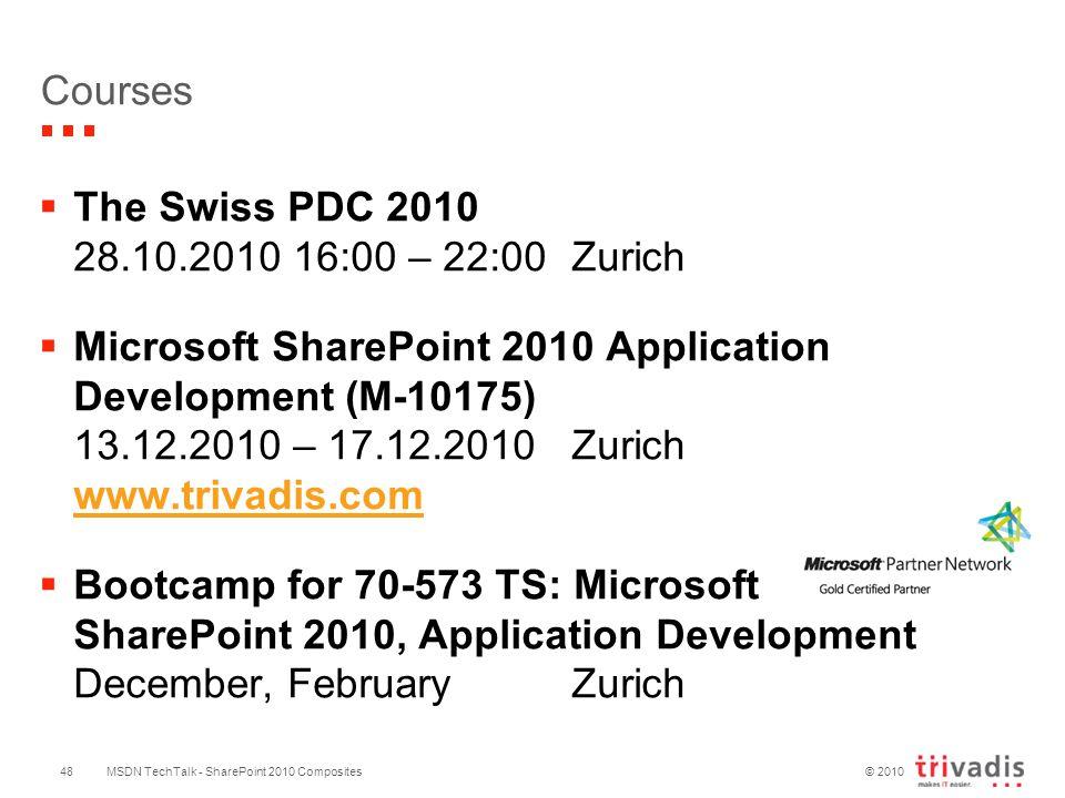 © 2010 MSDN TechTalk - SharePoint 2010 Composites48 Courses  The Swiss PDC 2010 28.10.2010 16:00 – 22:00Zurich  Microsoft SharePoint 2010 Application Development (M-10175) 13.12.2010 – 17.12.2010Zurich www.trivadis.com www.trivadis.com  Bootcamp for 70-573 TS: Microsoft SharePoint 2010, Application Development December, FebruaryZurich