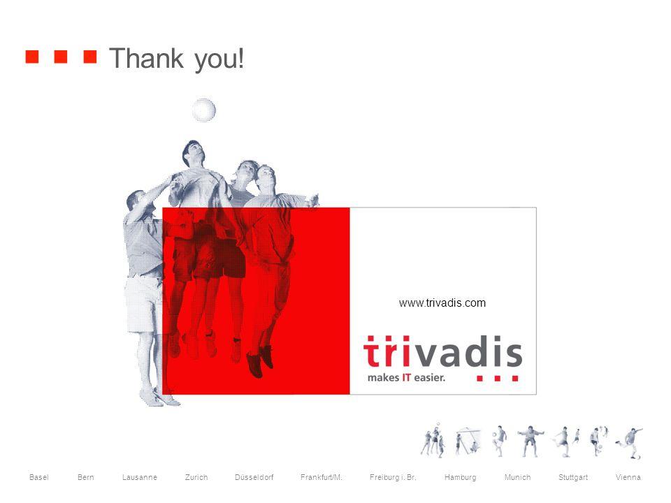 www.trivadis.com Basel Bern Lausanne Zurich Düsseldorf Frankfurt/M. Freiburg i. Br. Hamburg Munich Stuttgart Vienna Thank you!
