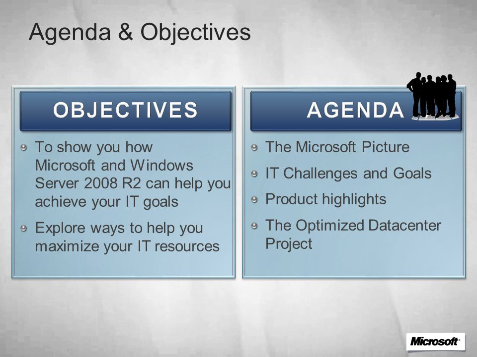 Agenda & Objectives To show you how Microsoft and Windows Server 2008 R2 can help you achieve your IT goals Explore ways to help you maximize your IT resources The Microsoft Picture IT Challenges and Goals Product highlights The Optimized Datacenter Project
