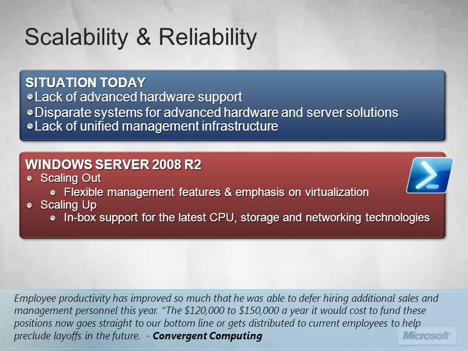 Scalability & Reliability WINDOWS SERVER 2008 R2 Scaling Out Flexible management features & emphasis on virtualization Scaling Up In-box support for the latest CPU, storage and networking technologies WINDOWS SERVER 2008 R2 Scaling Out Flexible management features & emphasis on virtualization Scaling Up In-box support for the latest CPU, storage and networking technologies SITUATION TODAY Lack of advanced hardware support Disparate systems for advanced hardware and server solutions Lack of unified management infrastructure SITUATION TODAY Lack of advanced hardware support Disparate systems for advanced hardware and server solutions Lack of unified management infrastructure Employee productivity has improved so much that he was able to defer hiring additional sales and management personnel this year.