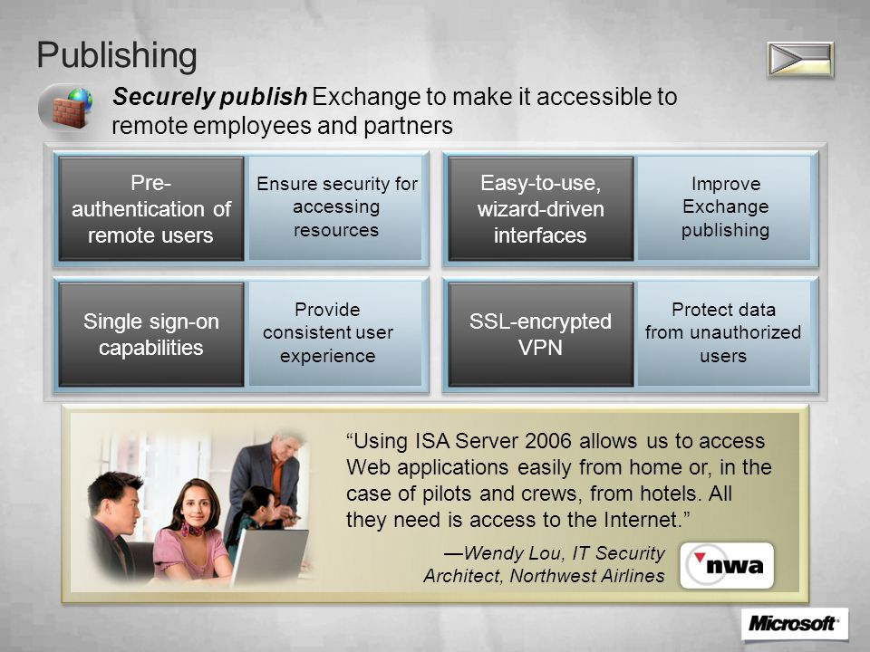 Publishing Securely publish Exchange to make it accessible to remote employees and partners Pre- authentication of remote users Easy-to-use, wizard-driven interfaces Single sign-on capabilities SSL-encrypted VPN Improve Exchange publishing Protect data from unauthorized users Ensure security for accessing resources Provide consistent user experience Using ISA Server 2006 allows us to access Web applications easily from home or, in the case of pilots and crews, from hotels.